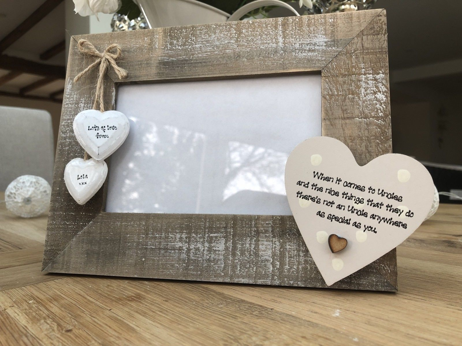 Shabby Personalised Chic Photo Frame Uncle Great Uncle From Niece